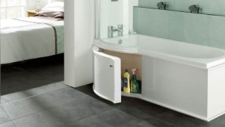 Multi MDF Bath Panel design options using various vinyl foil decors packed bulk stacked and delivered